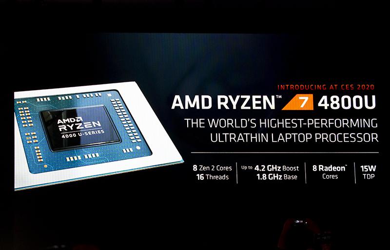 CES2020에서 공개된 AMD 라이젠 4000 시리즈 모바일 프로세서. 출처=IT동