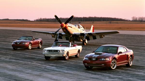 2004 포드 머스탱과 1965 머스탱, 그리고 P51 머스탱 전투기