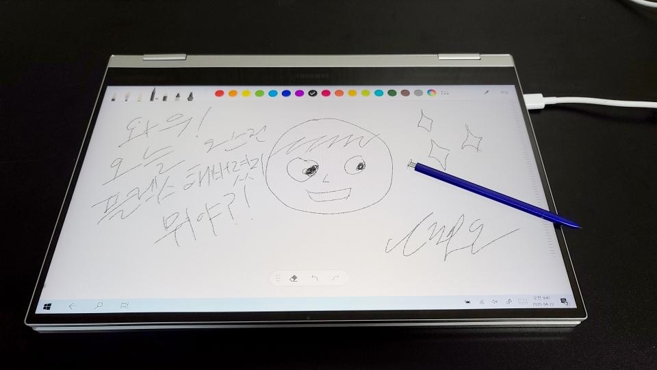 Samsung Notes에서 S펜으로 그림을 그려봤다. 내가 원하는 대로 그림을 그리고 글씨도 자유자재로 쓸 수 있었다.