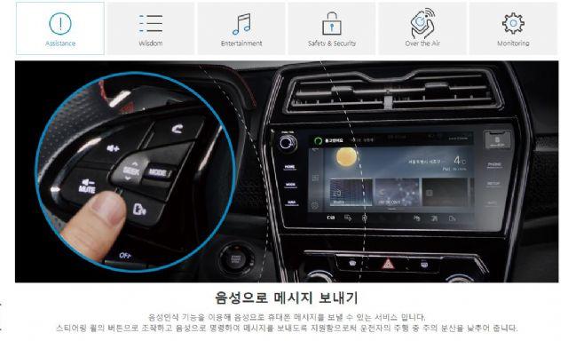 스티어링 휠 버튼을 통해 네이버 음성인식을 쓸 수 있는 쌍용차 인포콘 서비스 (사진=쌍용차 홈페이지 캡처)
