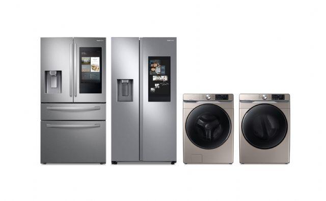 좌측부터 삼성전자 프렌치도어 냉장고(RF28R7551SR), 양문형 냉장고 (RS27T5561SR), 세탁기(WF45R6100AC), 건조기(DVE45R6100C) (사진=삼성전자)
