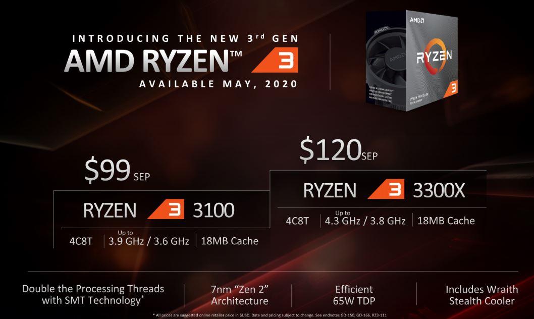 3세대 라이젠 3는 우선 두 제품이 출시된다.
