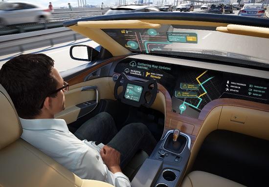 이 솔루션이 적용된 가상의 자율주행차가 주행 중에 전방의 도로폐쇄 정보를 실시간으로 수신, 대체경로로 우회전 하기 위해 분기점이 있는 오른쪽 차선으로 미리 차선을 변경한 모습.(사진=LG전자)