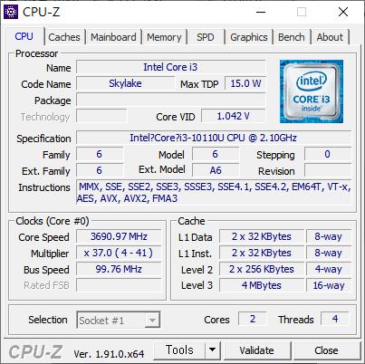 최대 4.1GHz로 작동하는 2코어 4스레드 구성의 인텔 코어 i3-10110U가 탑재됐다.