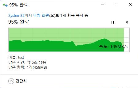 10GB의 대용량 파일을 내장 SSD 내에서 복사했다. 고성능 NVMe SSD 덕에 약 20초 만에 테스트가 완료됐다.