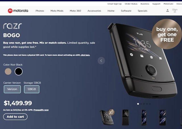 이저 폴더블이 미국에서 1대를 사면 1대를 공짜로 주는 행사를 시작했다. (사진=모토로라 홈페이지)