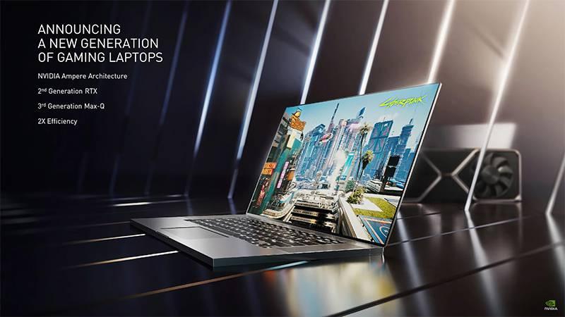 엔비디아 RTX 30 시리즈 노트북, 2세대 RTX와 3세대 맥스큐 디자인, 그리고 2배의 전력대비 효율을 낸다. 출처=엔비디아
