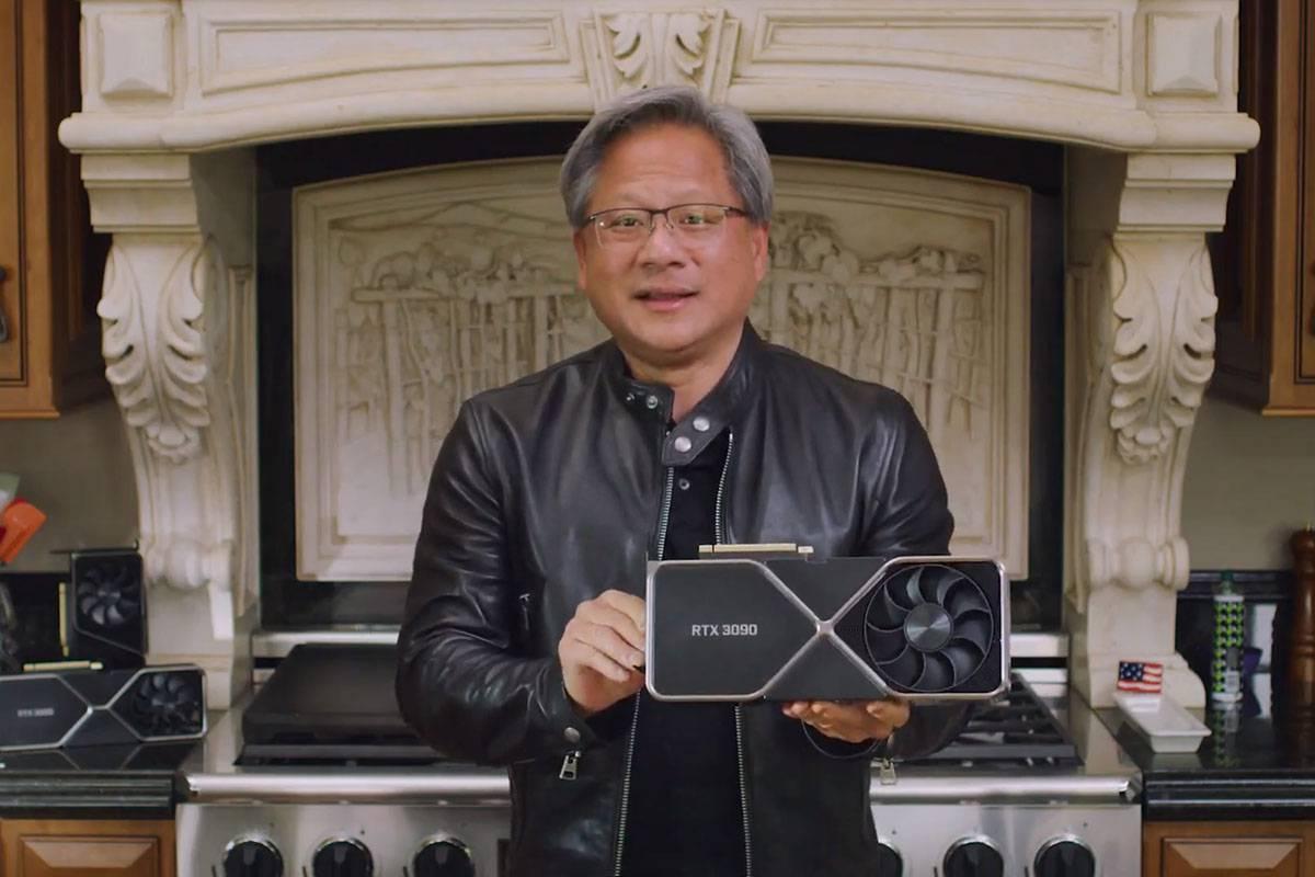 엔비디아 젠슨 황 CEO가 지난해 9월 2세대 RTX 그래픽 카드인 RTX 30 시리즈를 공개할 당시. 출처=엔비디아