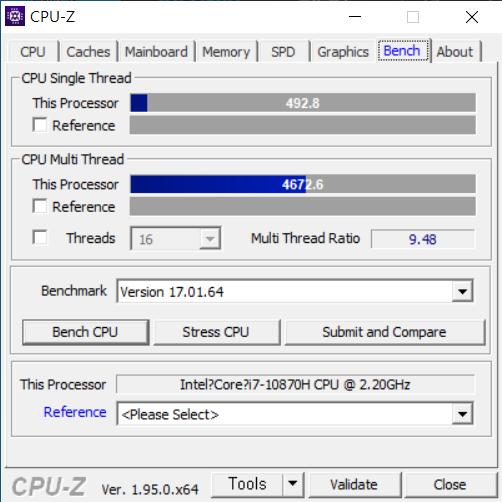 CPU는 8코어 16스레드 구성인 인텔 코어 i7-10870H다.
