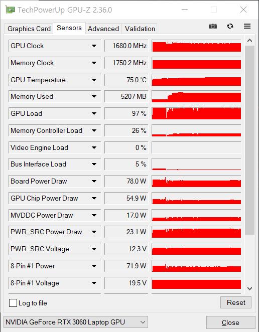 '어쌔신 크리드 발할라'(FHD 가장 높음 프리셋)를 프롤로그에서 20분간 구동해보니 GPU의 온도가 75도로 확인됐다.