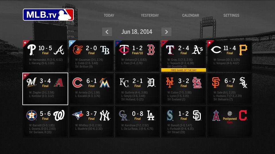 MLB 앱에서는 현재 진행 중인 메이저리그 경기결과를 실시간으로 확인할 수 있다.