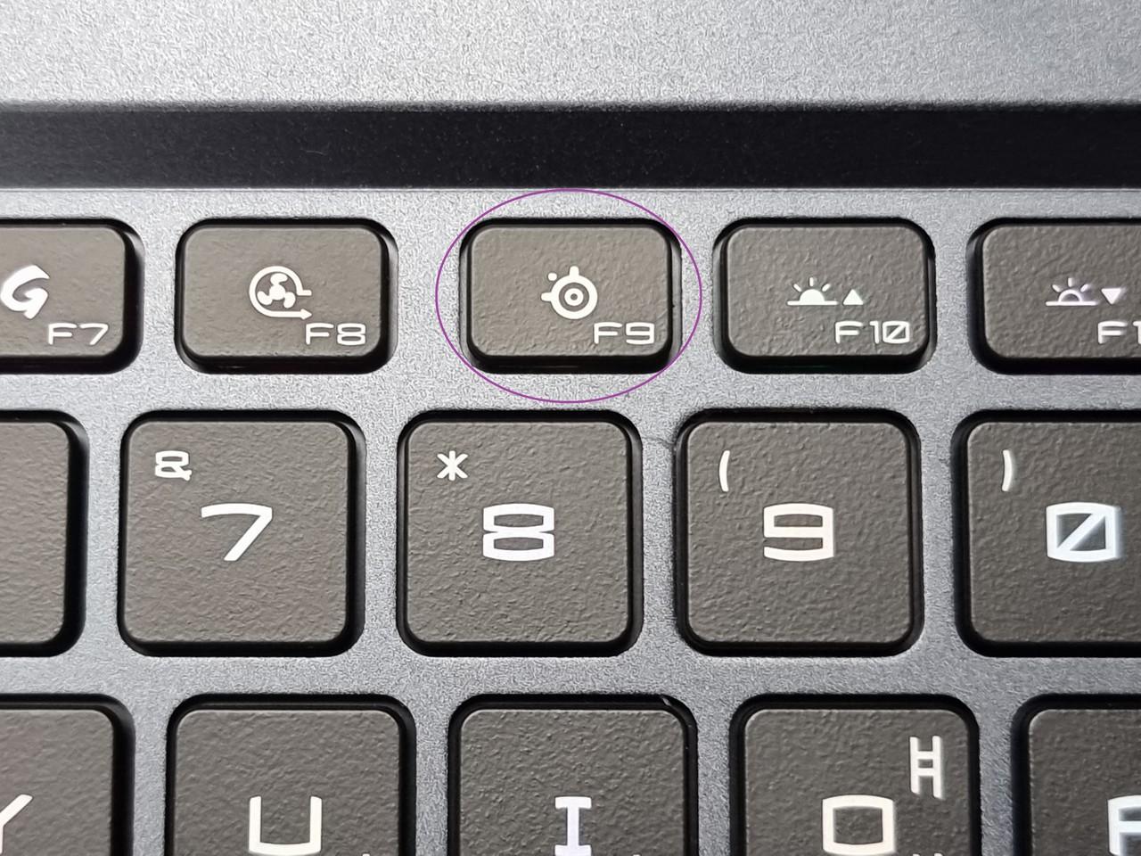▲ F9키(스틸시리즈)를 통해 키보드 RGB 프리셋을 변경할 수 있다.