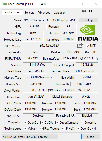 ▲ RTX 3080 랩톱 GPU. 기본 1350MHz에 부스트 적용 시 1710MHz로 표기되어 있다. 최대 부스트 클럭은 1740MHz다.