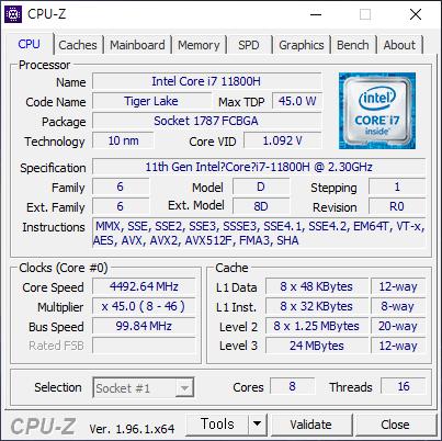 ▲ 코어 i7-11800H. 8코어 16스레드에 L3 캐시 24MB를 갖춘 TDP 45W의 프로세서다.