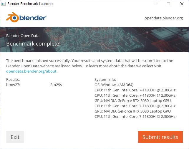 ▲ 블렌더 벤치마크 CPU 진행 결과. 3분 29초만에 완료했다. 참고로 8코어 16스레드의 코어 i7-10875H는 대략 4분 39초 걸린다.