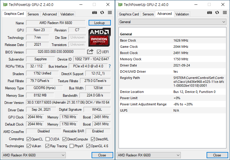 GPU-Z에서 그래픽카드 정보를 확인했다. 7nm 공정으로 제작되었으며, PCIe 4.0 인터페이스를 채택했다. GPU 클럭은 2,044MHz, 메모리 클럭은 1,750MHz다. OpenCL과 Vulkan, 레이 트레이싱 등을 지원한다.