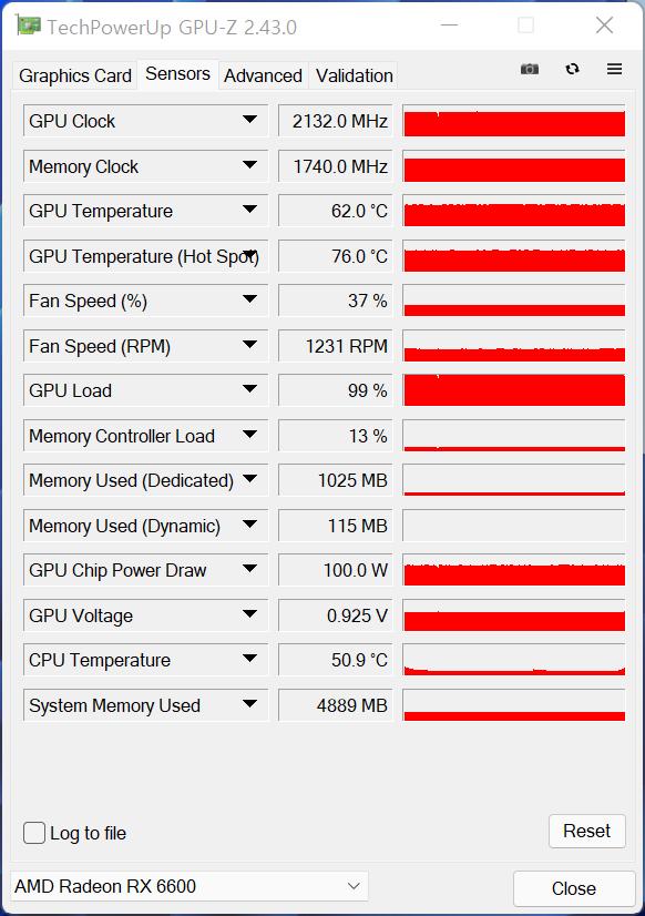 ▲ GPU 온도는 62도, GPU 온도(핫스팟)은 76도로 확인됐다.