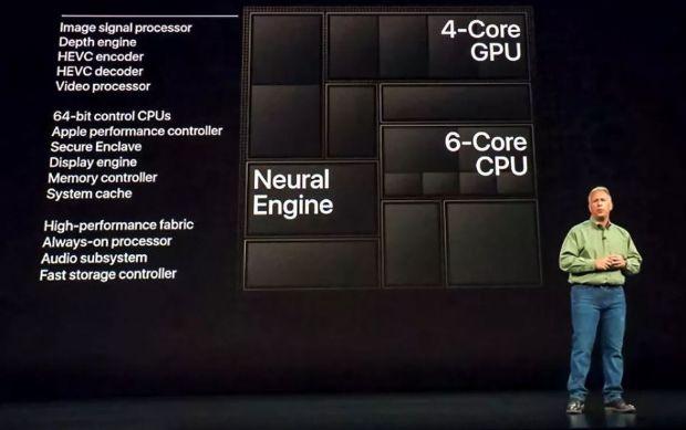 필 쉴러 애플 마케팅 수석부사장이 아이폰 공개 행사에서 A12 바이오닉 칩에 대해 설명하고 있다. (사진=씨넷)