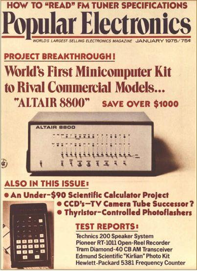 폴 앨런을 PC 혁명의 길로 이끌었던 '파퓰러 일렉트로닉스' 1975년 1월호 표지.