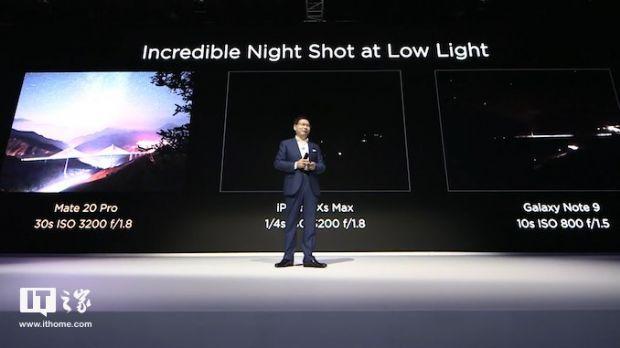 화웨이가 앞서 메이트20 시리즈 발표회에서 애플 아이폰, 삼성전자 갤럭시노트9 야간 사진 촬영 결과물을 비교했다. (사진=IT즈자, ithome.com)
