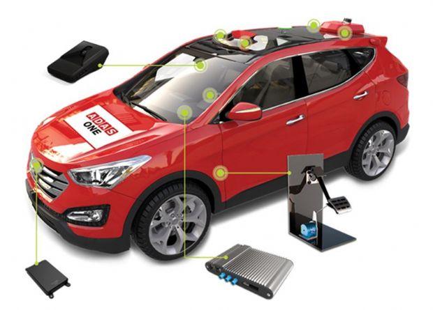 에이다스원의 카메라센서, 레이다, 라이다, 브레이크 액추에이터, RTK GNSS 등을 통한 연구용 무인 자율주행 개조 차량 구성도 (사진=에이다스원)