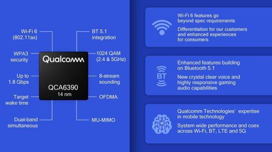 퀄컴 QCA6390 칩. 블루투스 5.1과 와이파이6를 동시 지원한다. (사진=퀄컴)