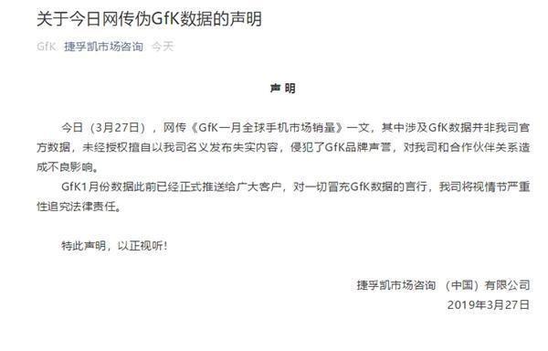 GfK는 27일 해당 데이터가 자사의 이름을 차용한 '가짜 통계'라고 성명을 냈다. (사진=GfK 공식)
