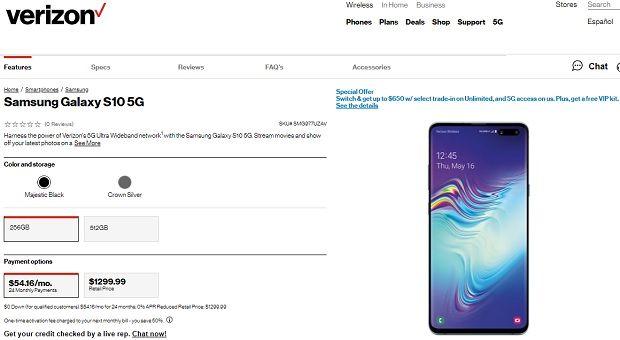 버라이즌이 갤럭시S10 5G 사전예약 판매를 시작했다.(사진=홈페이지 캡처)