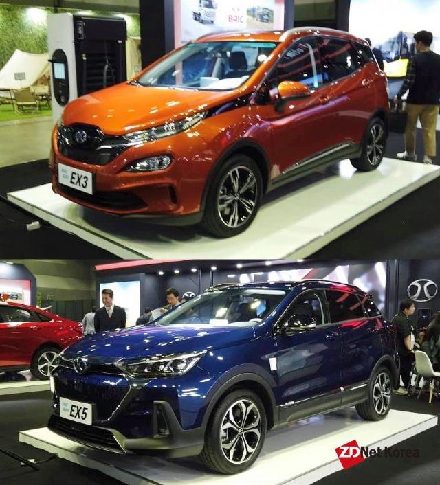 중국 BAIC 소형 SUV 전기차 EX3, 중형 SUV 전기차 EX5(사진 위쪽부터) (사진=지디넷코리아)