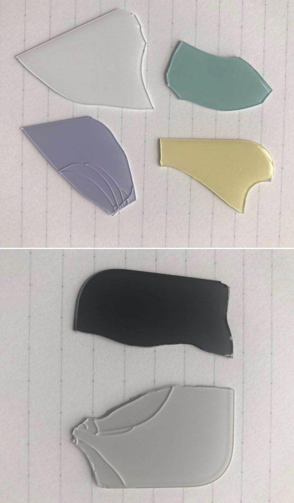 차기 아이폰XR 색상을 보여주는 부서진 유리 조각 사진이 트위터에 공개됐다. (사진=마크거먼 트위터@markgurman)