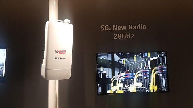 KT와 삼성전자가 개발 중인 28GHz 대역 5G 장비.