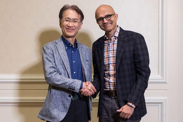 요시다 켄이치로 소니 CEO와 사티아 나델라 MS CEO(사진=MS 뉴스 센터)
