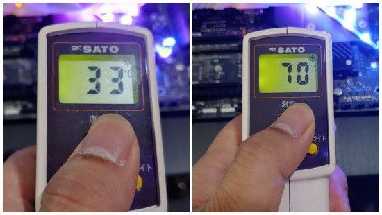 테스트 중 방열판 탑재 모델의 온도 변화 추이. (사진=지디넷코리아)