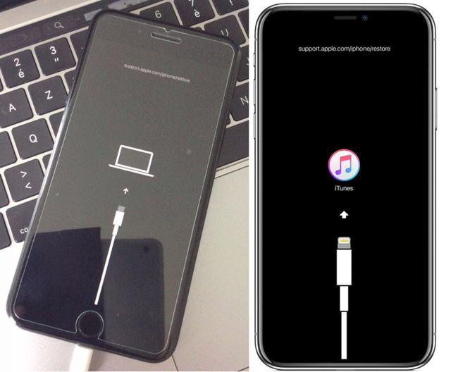 왼쪽이 iOS13 베타버전 복구화면(사진=트위터 @Raf___m), 오른쪽은 iOS 12 복구화면 (사진=애플)