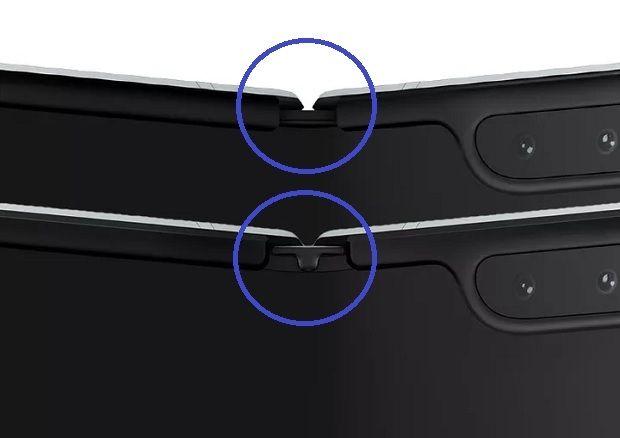 삼성전자 갤럭시 폴드의 보완하기 전(상단)과 후(하단) 모습.(사진=더버지)