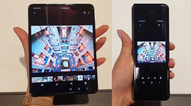 갤럭시 폴드를 펼치고 닫았을 때 사용하던 앱 화면이 그대로 이어진다.(사진=지디넷코리아)