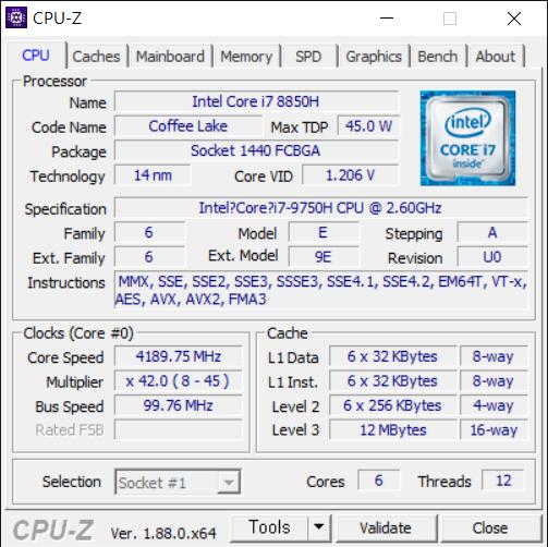 코어 i7-9750H가 탑재됐다. 6코어 12스레드에 L3 캐시가 12MB다. 최대 배수는 45배수로 터보 부스트 발동 시 4.5GHz로 동작한다. 코어 i7-8750H(2.6~4.5GHz, L3 캐시 9MB)보다 상향됐다.