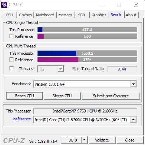 고성능 게이밍 CPU인 코어 i7-8700K에 크게 따라붙었다. 코어 i7-8700K가 3,701점이며 이번 코어 i7-9750H는 3,556.2점이다. 두 CPU는 144.8점만큼 차이가 난다. 참고로 코어 i7-8750H는 3,308.5점이었다. 코어 i7-9750H가 247.7점 더 높다.
