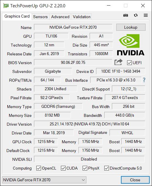 지포스 RTX 2070(부스트 클럭 1440MHz)이 탑재됐다. Max-Q 버전이 아니기에 클럭이 높아 게임 체감 성능이 높다.
