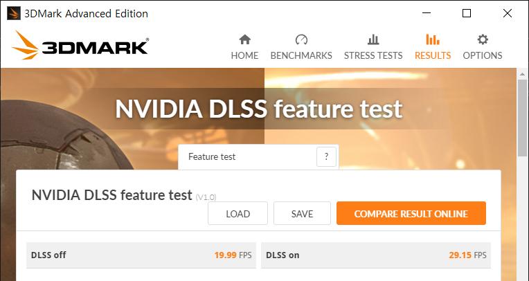 RTX 2070은 3DMark 내부의 엔비디아 DLSS 테스트를 구동할 수 있다. DLSS가 활성화됐을 때 10프레임 가까이 향상되는 것을 확인할 수 있다.
