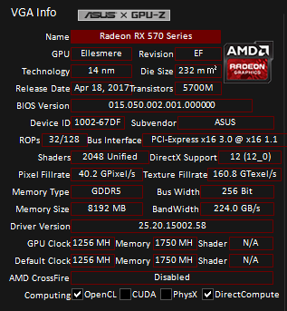 GPU-Z로 DUAL GTX 1660 Ti O6G의 내부 정보를 확인했다. 쉐이더(쿠다코어) 2,048개, 256bit GDDR5 8GB 메모리, 코어 클럭 1256MHz으로 표기된다.