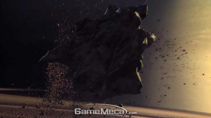 게임 시작과 함께 날아와 지표면을 박살내는 소행성 아포피스 (사진출처: 게임 내 영상 갈무리)