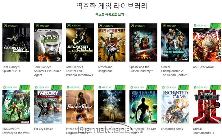 Xbox One 마지막 하위호환 라인업 중 일부 (자료출처: 공식 홈페이지)