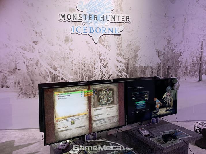 E3 2019 회장에 마련된 '몬스터 헌터 월드: 아이스본' 체험대 (사진: 게임메카 촬영)